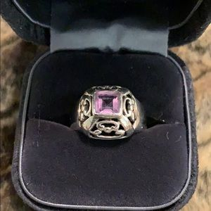 Stylish amethyst sterling silver ring 925 #A97
